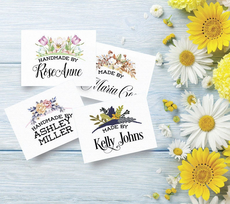 2W x 1.5H Knitting Custom Fabric Labels 4 Floral Bouquet Styles Crochet IronSew On Cutting Fee For Quilts 100/% Cotton Colorfast