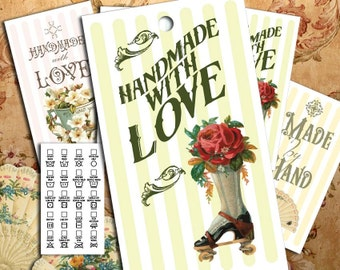 "Victorian Images on Laundry Care Tags - 300 DPI – 2 x 3-1/2"" – Vector PDF and PNGs - Printables"