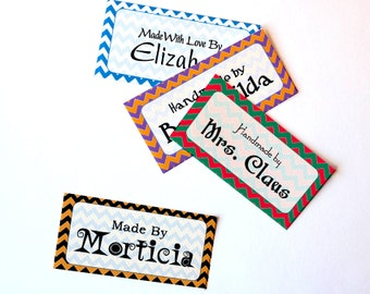 "Holiday Colors Chevron Fabric Labels Sew-on - Iron-on • 80 Labels  2 x 1"" Uncut • Name Added • Colorfast 100% Preshrunk Cotton"