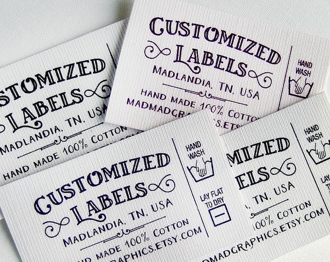 "Custom Fabric Labels, Retro, Care Added, 32 Labels,  2'W x 1.25""H, Uncut,  Colorfast 100% Preshrunk Cotton, CPSIA Compliant"