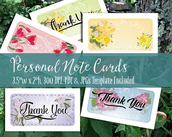 Personal Note Cards and Thank You Notes Printable PDF and | Etsy