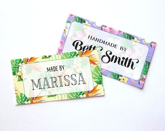 "Island Tropical Custom Fabric Labels Sew-on or Iron-on • 80 Labels  2 x 1"" Uncut • Your Name Added • Colorfast 100% Preshrunk Cotton"