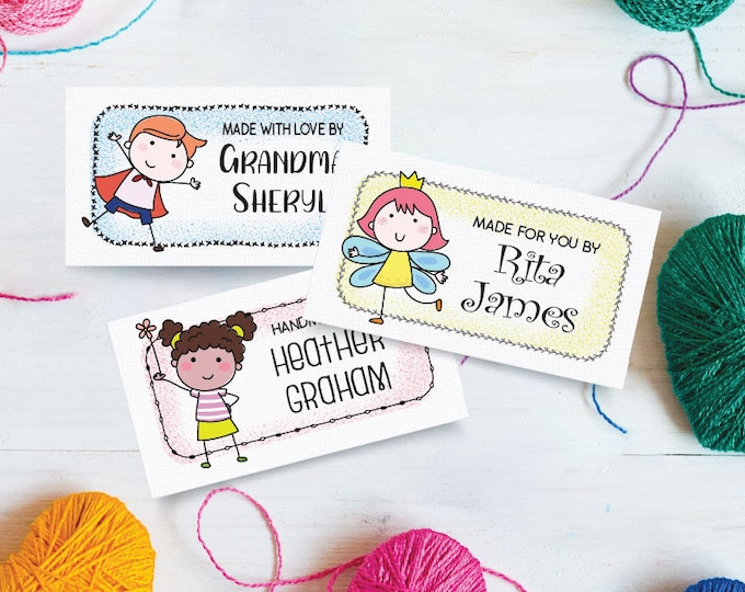 "Custom Fabric Labels, Charming Children, Personalized, 2""W x 1""H, 40 Per Sheet, Uncut, 100% Cotton, Colorfast, Printed Clothing Tags"
