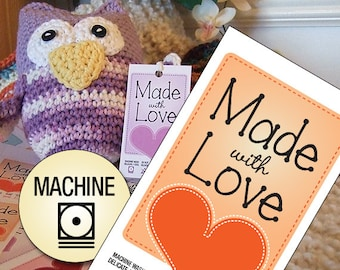 "Laundry Care Tags for Delicate Machine Washing Handmade Items ""Made With Love"""
