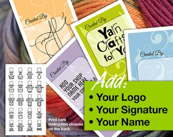 Laundry Care  or Gift Tags • Add Your Own Logo, Signature, Name – 5 Soft Colors & Styles – For Fiber Crafters: Sewing, Knitting and Crochet