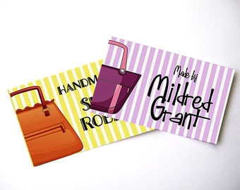 "Custom Fabric Labels Featuring Handbags  •  64 Labels  2 x 1.25"" Uncut •  Colorfast 100% Preshrunk Cotton •  Fabric Industry Compliant"