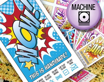 DIY Printable Machine Wash Laundry Care Tags or Labels Comic Book Style