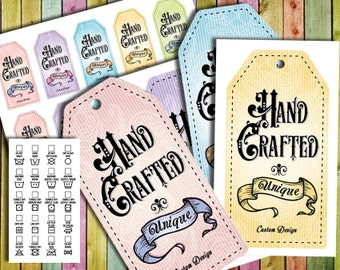 """Vintage Victorian Style Laundry Care Tags – 5 Colors- 300 DPI – 2 x 3-1/2"""" – Vector PDF and PNGs – DIY Printables"""