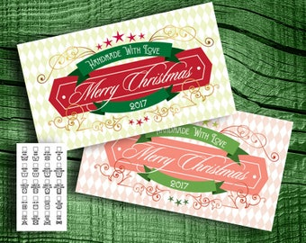 "Vintage Holiday  Laundry Care Tags - 300 DPI – 2 x 3-1/2"" – Vector PDF and PNGs - DIY Printables Business Card Size"