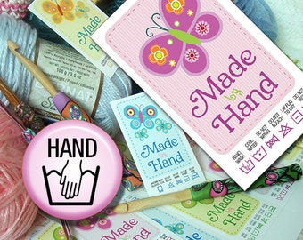 Butterfly Themed Laundry Care Tags Handwash Printables