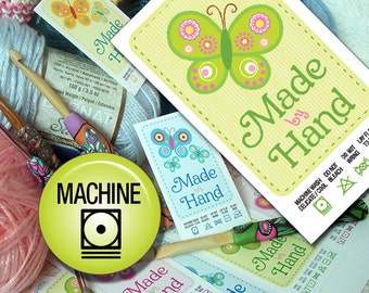 Butterfly Themed Laundry Care Tags Machine Wash Printables