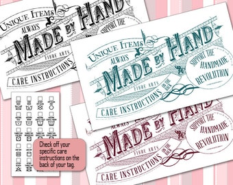 Vintage Laundry Care or Gift Tags • Washing Instructions on Back • 5 Colors • For Fiber Crafters - Sewing - Knitting - Crochet •  PNGs & PDF