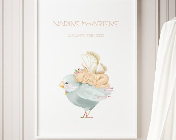 Custom Name Bird Baby Nursery Print - DIGITAL FILE - JPEG - Baby Shower Gift - Nursery Room Decor Poster
