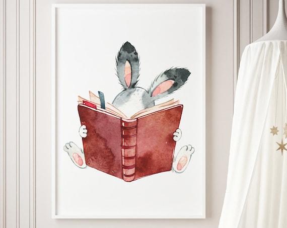 Watercolor Bunny Reading - Rabbit Animal Print- Nursery Decor Print Wall Art Baby Kids Room Printable Decor - DIGITAL DOWNLOAD
