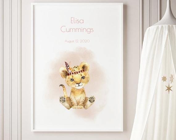 Custom Baby Name Tiger Cub Watercolor Art Baby Nursery Print - DIGITAL FILE - JPEG - Baby Shower Gift - Nursery Room Decor Poster