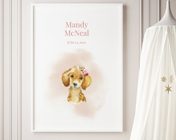 Custom Baby Name Pup Dog Watercolor Art Baby Nursery Print - DIGITAL FILE - JPEG - Baby Shower Gift - Nursery Room Decor Poster