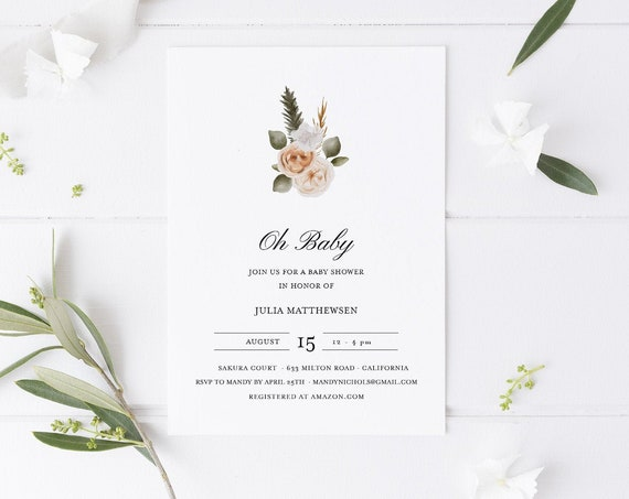 Flower Bouquet Baby Shower Invitation - Editable Template - 5 x 7 - Card - Editable Invitation Templett - Download DIY