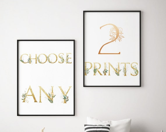 Choose Any 2 Prints - Boho Nursery Decor Print Wall Art Baby Girl - Boy Room Printable Decor - DIGITAL DOWNLOAD