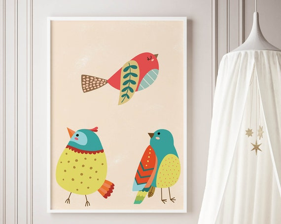 8 x 10 Colorful Birds Collection Print - Boho Nursery Decor Print Wall Art Home Decor Baby Girl - Boy Room Printable - DIGITAL DOWNLOAD