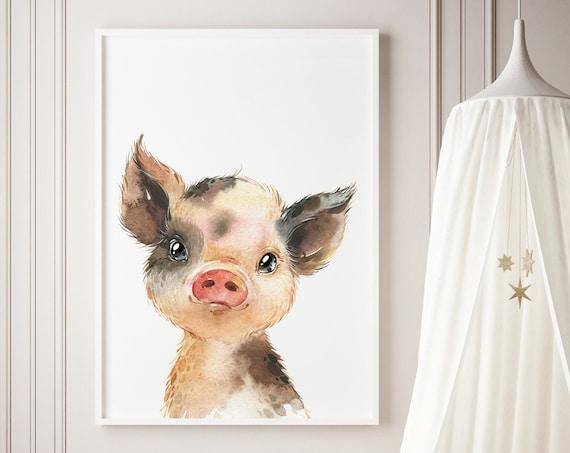 Watercolor Pig - Piglet Farm Animal Print- Boho Nursery Decor Print Wall Art Baby Kids Room Printable Decor - DIGITAL DOWNLOAD