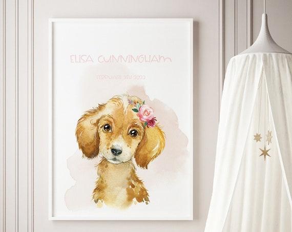 Custom Name Puppy Dog Watercolor Art Baby Nursery Print - DIGITAL FILE - JPEG - Baby Shower Gift - Nursery Room Decor Poster