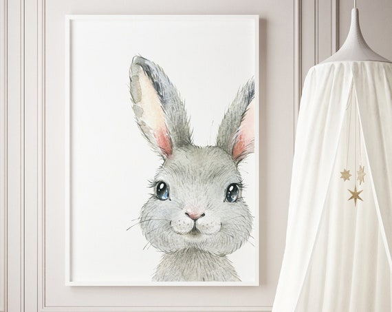 Watercolor Rabbit Bunny Animal Print- Boho Nursery Decor Print Wall Art Baby Kids Room Printable Decor - DIGITAL DOWNLOAD