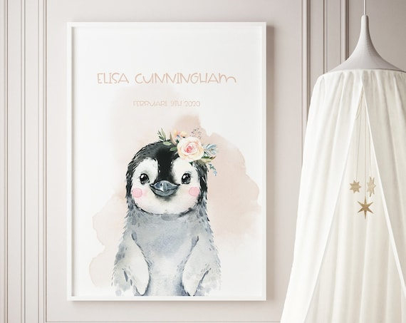 Custom Name Penguin Wartercolor Art Baby Nursery Print - DIGITAL FILE - JPEG - Baby Shower Gift - Nursery Room Decor Poster