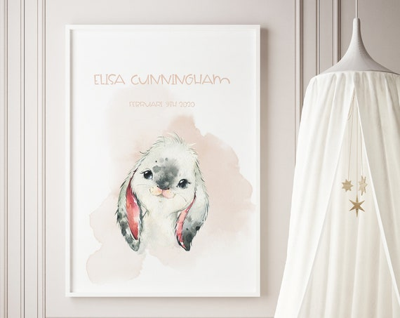 Custom Name Rabbit Bunny Watercolor Art Baby Nursery Print - DIGITAL FILE - JPEG - Baby Shower Gift - Nursery Room Decor Poster