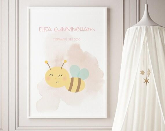 Custom Name Bee Watercolor Art Baby Nursery Print - DIGITAL FILE - JPEG - Baby Shower Gift - Nursery Room Decor Poster