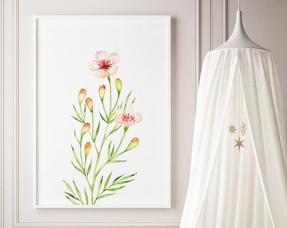 Full Bloom II Flower Floral Botanical Watercolor Print- Nursery Decor Wall Art Baby Girl - Boy Room Printable Decor - DIGITAL DOWNLOAD