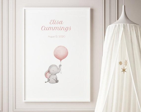 Custom Name Elephant Baby Balloon Watercolor Art Baby Nursery Print - DIGITAL FILE - JPEG - Baby Shower Gift - Nursery Decor Poster