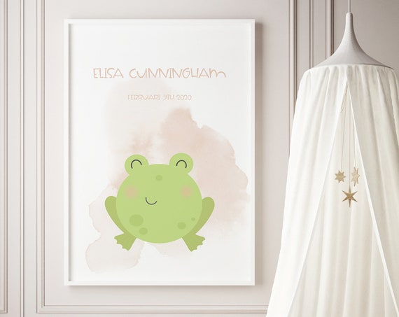 Custom Name Frog Watercolor Art Baby Nursery Print - DIGITAL FILE - JPEG - Baby Shower Gift - Nursery Room Decor Poster