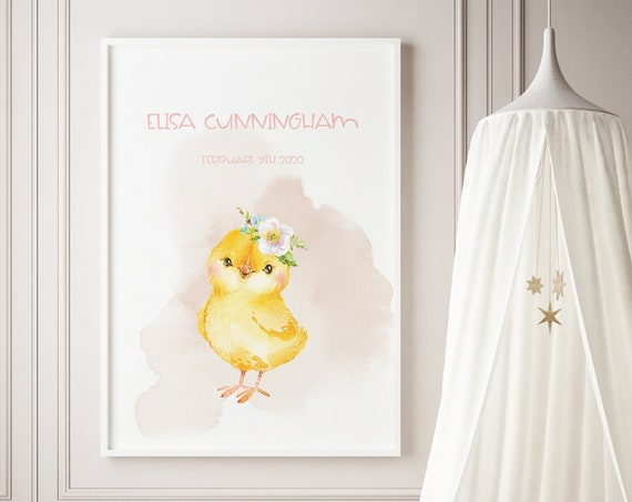 Custom Name Spring Chick Watercolor Art Baby Nursery Print - DIGITAL FILE - JPEG - Baby Shower Gift - Nursery Room Decor Poster
