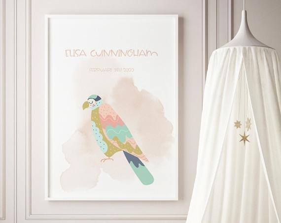 Custom Name Tropical Bird Watercolor Art Baby Nursery Print - DIGITAL FILE - JPEG - Baby Shower Gift - Nursery Room Decor Poster
