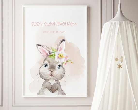 Custom Name Spring Bunny Watercolor Art Baby Nursery Print - DIGITAL FILE - JPEG - Baby Shower Gift - Nursery Room Decor Poster
