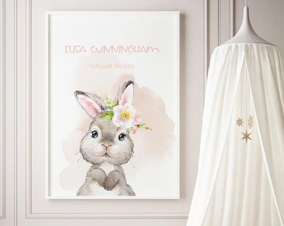 Custom Name Spring Bunny Watercolor Art Baby Nursery Print - DIGITAL FILE - JPEG - Baby Shower Gift - Nursery Room Decor Poster