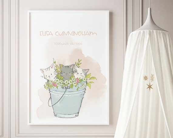 Custom Name Kittens Cats Flower Bucket Watercolor Art Baby Nursery Print - DIGITAL FILE - JPEG - Baby Shower Gift - Nursery Room Decor