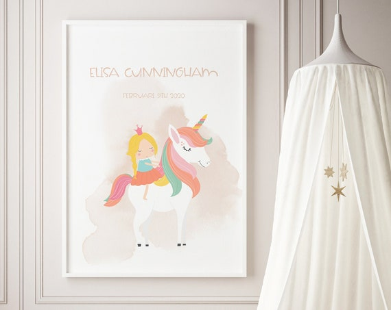 Custom Name Princess and Unicorn Watercolor Art Baby Nursery Print - DIGITAL FILE - JPEG - Baby Shower Gift - Nursery Room Decor Poster