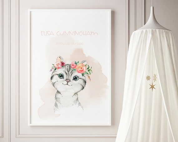 Custom Name Kitten Young Cat Watercolor Art Baby Nursery Print - DIGITAL FILE - JPEG - Baby Shower Gift - Nursery Room Decor Poster