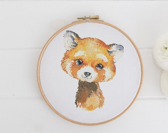 Watercolor Red Panda Animal Chart - Cross Stitch Pattern - Modern Cross Stitch - Childrens Decor Nursery - Instant Download -