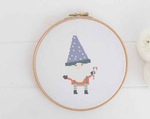 Christmas Gnome - Chart Cross Stitch Pattern - Modern Cross Stitch - Childrens Decor Nursery - Instant Download -