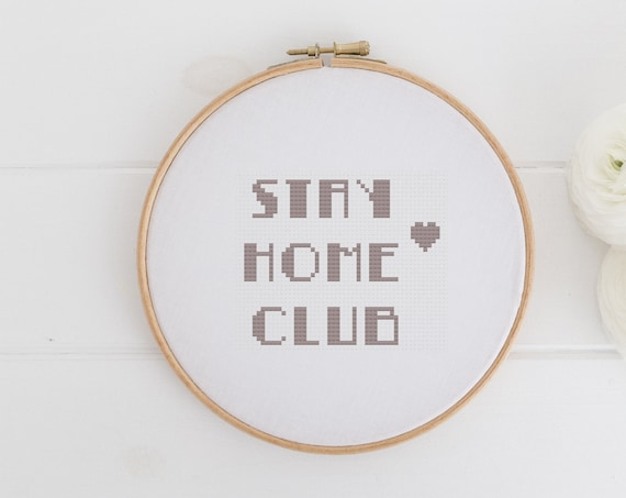 Stay Home Club - Modern Art Deco Chart Cross Stitch Pattern - Modern Cross Stitch - Instant Download -