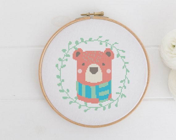 Bear Wreath Greenery - Chart Cross Stitch Pattern - Modern Cross Stitch - Childrens Decor Nursery - Instant Download -