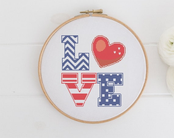 Love USA Patriotic America - Chart Cross Stitch Pattern - Modern Cross Stitch - Childrens Decor Nursery - Instant Download -