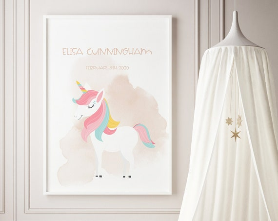 Custom Name Unicorn Watercolor Art Baby Nursery Print - DIGITAL FILE - JPEG - Baby Shower Gift - Nursery Room Decor Poster