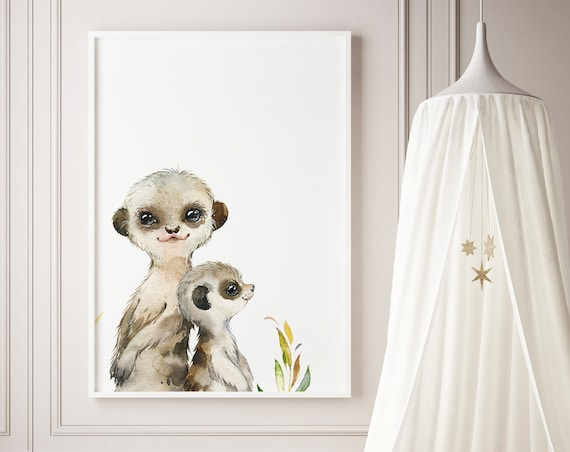 Meerkats Watercolor Print- Boho Nursery Decor Print Wall Art Baby Girl - Boy Room Printable Decor - DIGITAL DOWNLOAD