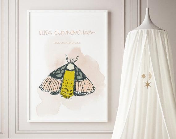 Custom Name Moth Butterfly Watercolor Art Baby Nursery Print - DIGITAL FILE - JPEG - Baby Shower Gift - Nursery Room Decor Poster