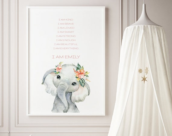 Custom Name Affirmations Elephant Watercolor Animal Art Baby Nursery Kids Room Print - DIGITAL FILE - JPEG -