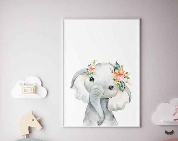 Elephant With Flowers Watercolor Print- Boho Nursery Decor Print Wall Art Baby Girl - Boy Room Printable Decor - DIGITAL DOWNLOAD