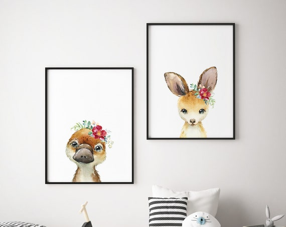 Kangaroo and Platypus Set - Boho Nursery Print Wall Art Home Decor Baby Girl - Boy Room Printable - DIGITAL DOWNLOAD